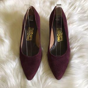 Salvatore Ferragamo Purple Suede Heels